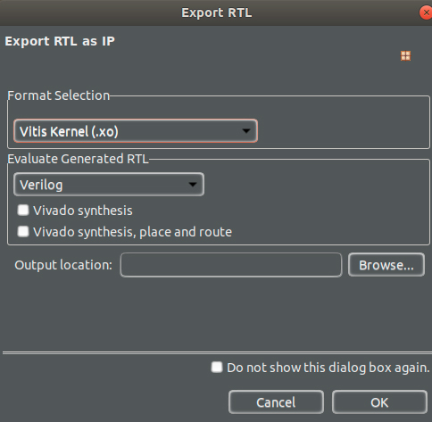 Figure 8: Exporting the Xilinx Object from Vitis HLS